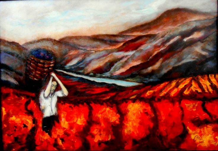 Maria do Céu Relvas (acrílico sobre tela 70x50) vindimas no douro