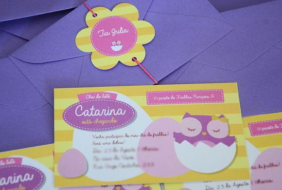 Convite Coruja Menina (12X7cm)