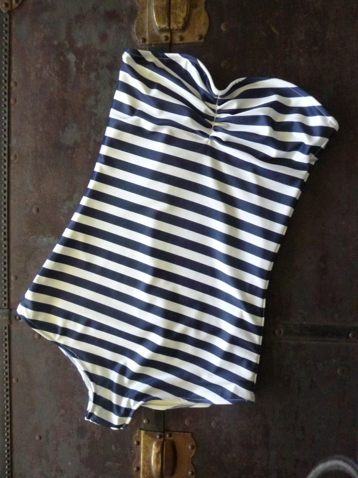 Navy and white stripe Strapless retro one piece swimsuit sizes xs-xl made to order. $70.00, via Etsy.
