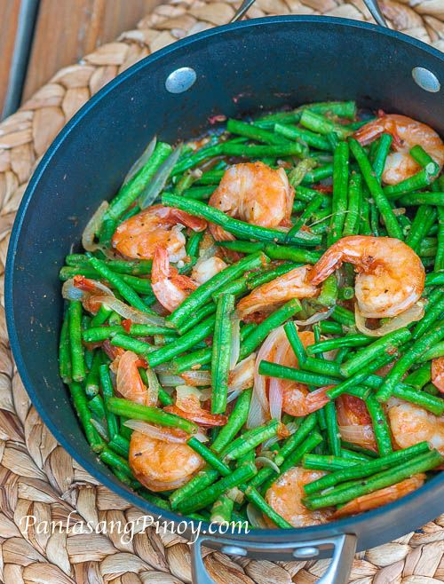 Sauteed shrimp with string beans recette cuisiner for Idee plat a cuisiner