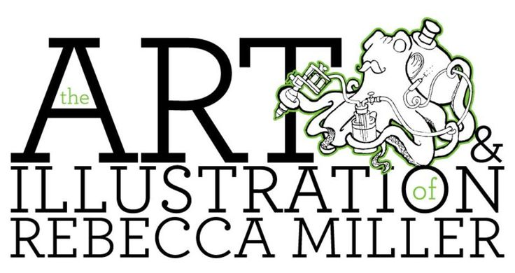 "Rebecca Miller illustration main logo. Rebecca Miller illustration main splashpage image featured ""Inked"" octopus."