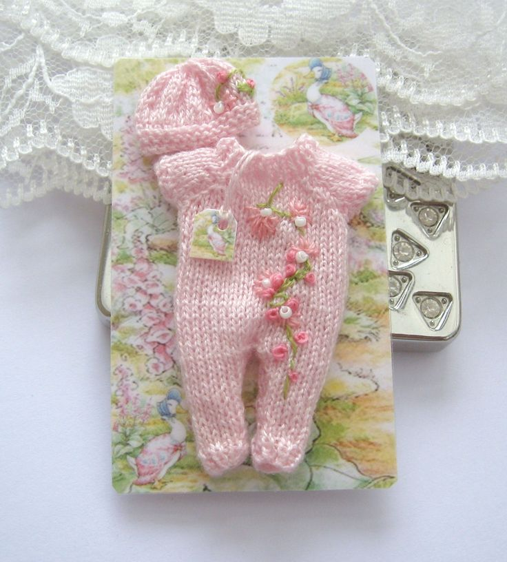 dollhouse baby doll outfit knitted clothes embroidered flowers 12th scale miniature by Rainbowminiatures on Etsy