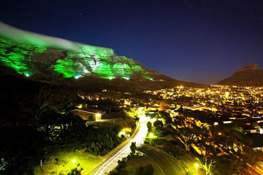 Table Mountain, Cape Town, South Africa went emerald green last St. Patrick's Day.