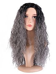Women Synthetic Wigs Capless Long Curly Jheri Curl Black/Grey Ombre Hair Natural Hairline Layered Haircut Halloween Wig Natural Wig – GBP £ 22.81