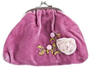 The sweetest vintage style coin purse in silk velvet with the Sleeping Beauty hand embroidered silk rose design