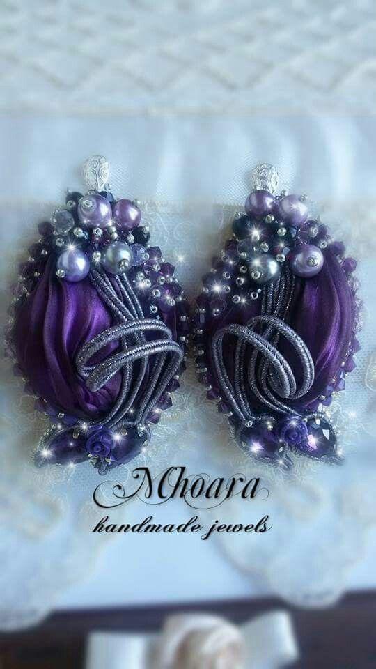 Shibori silk earrings 'Deep Purple' MHOARA Handmade Italian Jewels