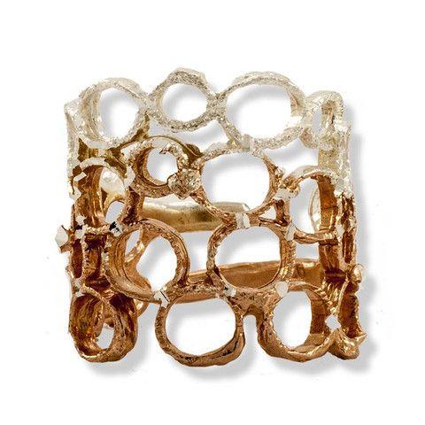 Handmade Rose Gold Plated Silver Shimmering Long Ring