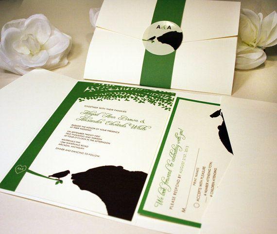 Oso de la muestra y del pájaro Pocketfold invitación de boda, crema, verde, Chocolate, marrón, rústico moderno, gracias, RSVP, guardar la tarjeta fecha