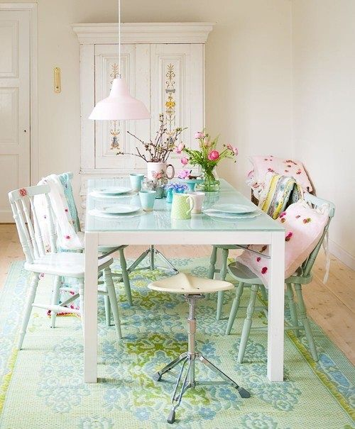 pastel colors dining room. pale green