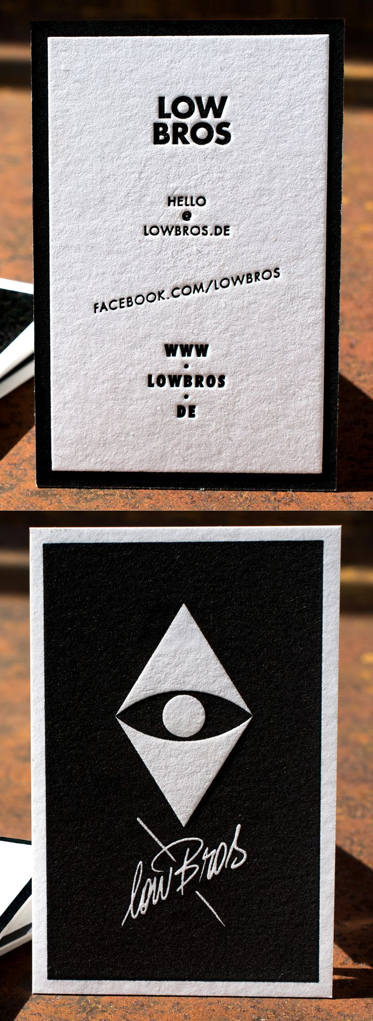 Letterpress Business Card lowBros on 710gsm Metapaper Pure Cotton | Letterpress…