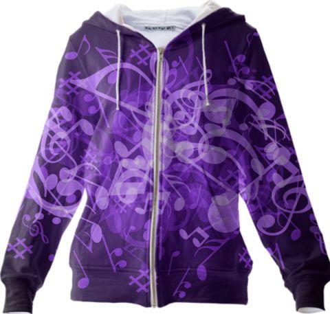 0000000P/Purple Glow Music Notes Hoodie