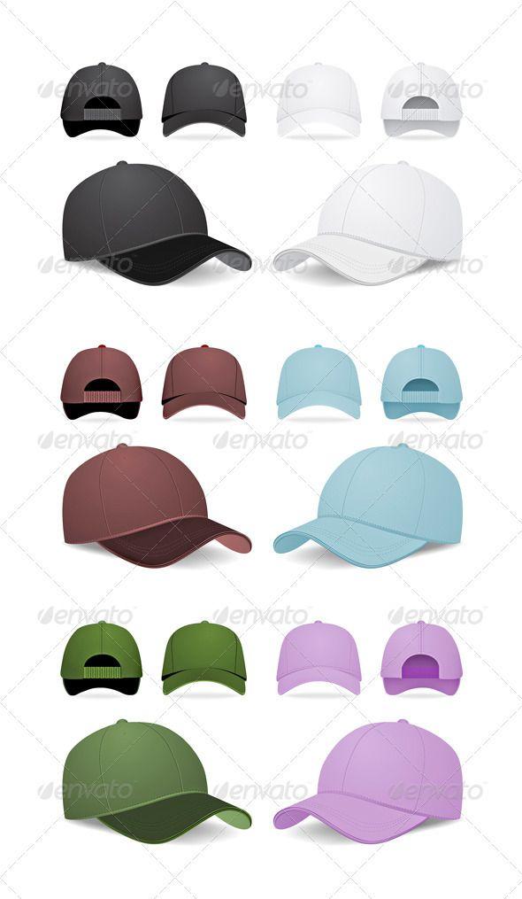 Blank Baseball Caps — AI Illustrator #elegance #design • Available here → https://graphicriver.net/item/blank-baseball-caps/2023685?ref=pxcr