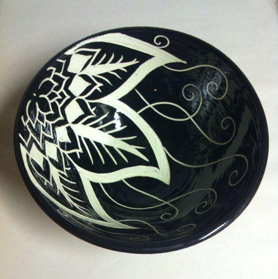 Asymmetrical Floral Mandala Bowl by Paula Focazio Art & Design