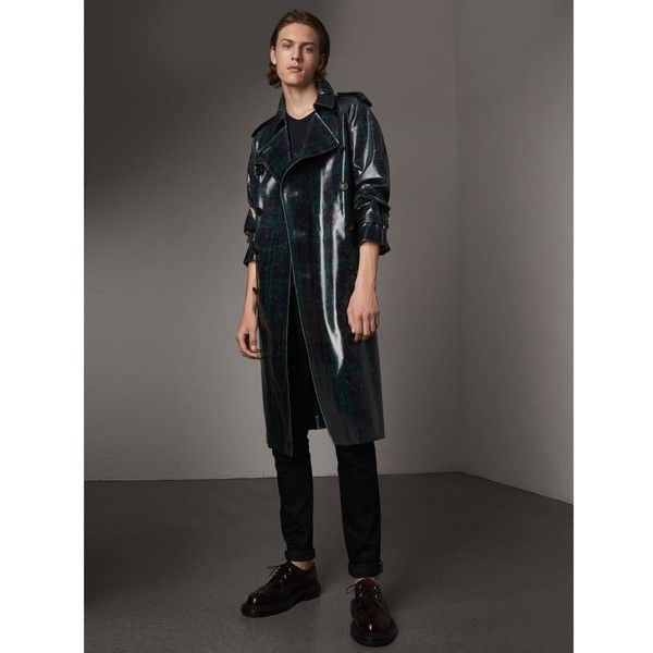 Burberry Laminated Tartan Wool Trench Coat (160.150 RUB) ❤ liked on Polyvore featuring men's fashion, men's clothing, men's outerwear, men's coats, burberry mens coat, mens plaid wool coat, mens wool trench coat, mens fur collar coat and mens plaid sport coat