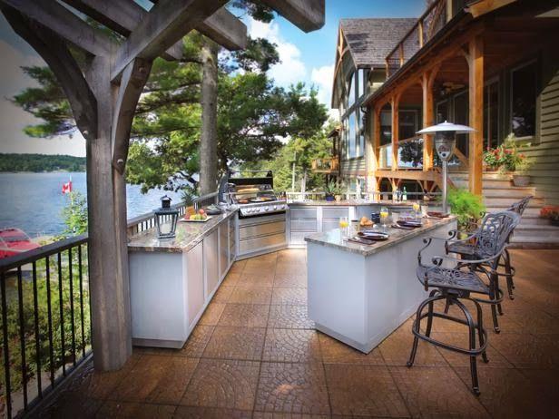 Desain dapur luar ruangan, desain dapur mewah.,