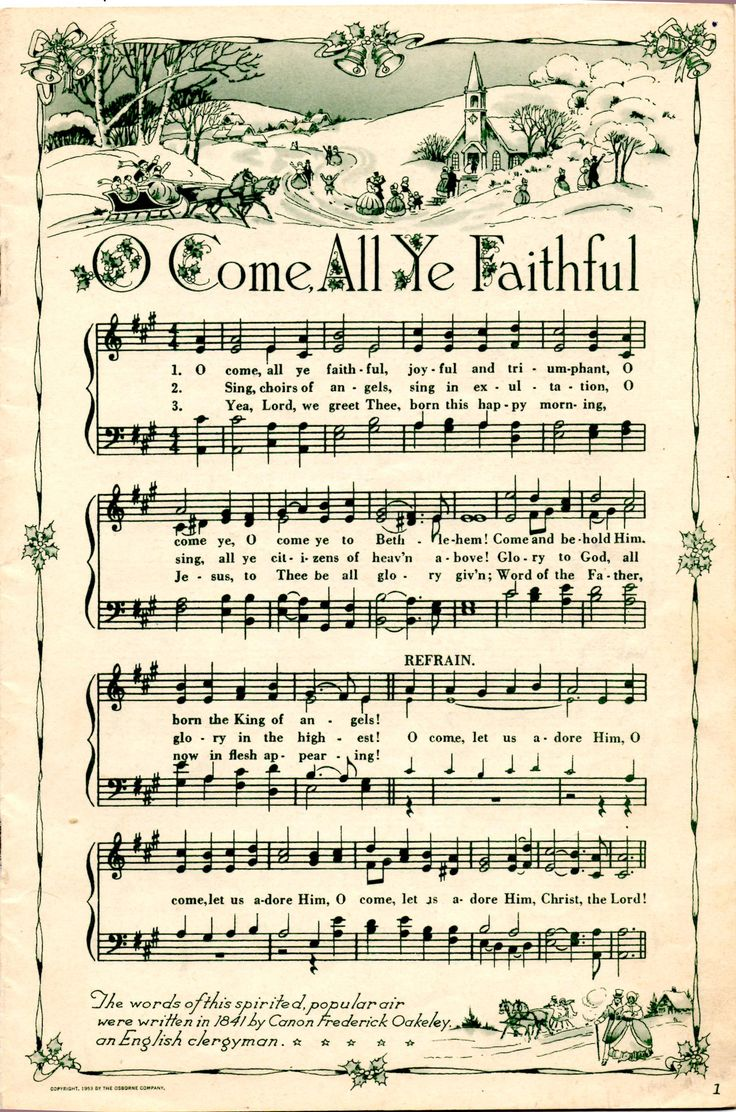 This site has several old pages of sheet music of Christmas Carols for print…