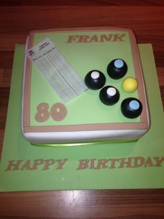 Crown green bowling cake Lawn bowling cake 80th mans birthday cake