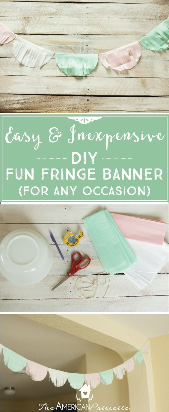 Such an easy and inexpensive-to-make, adorable, and very festive piece of decor for your next birthday party, bridal or baby shower, or celebration of sorts! This DIY tissue paper fringe banner costs only a couple of dollars to make and you can completely customize it for any celebration just by changing out the colors of tissue paper! Click the image to check out the easy-to-follow tutorial!