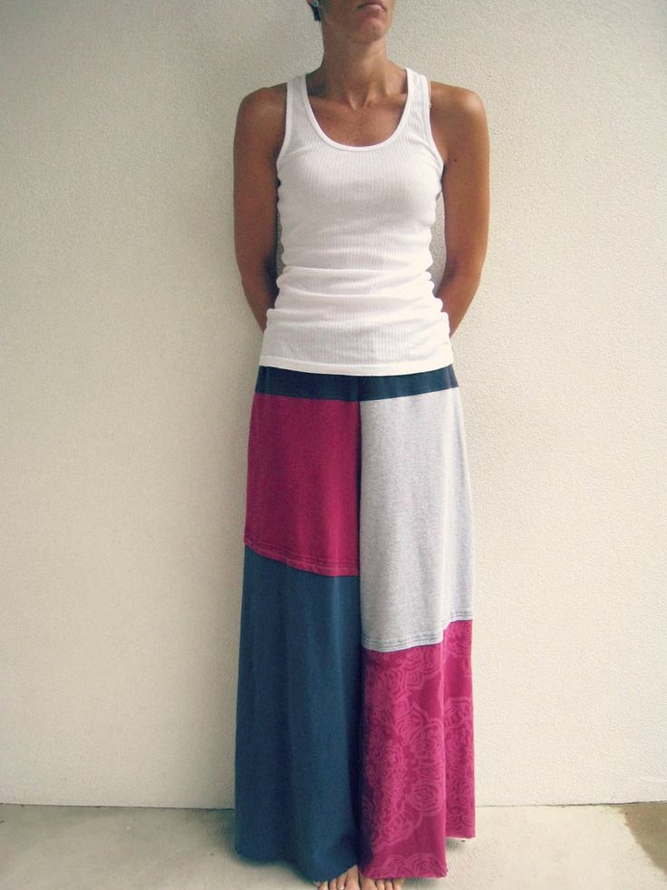 Use several old t-shirts and patch them up into a cool skirt. Source: Etsy user ohzie