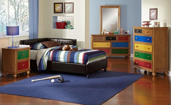 Taylor Brown Kids Furniture Collection | Furniture.com. Brown faux leather twin corner bed with tufted back rest.