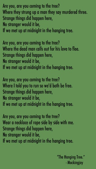 The hanging tree love this song the hanging tree mockingjay favorite
