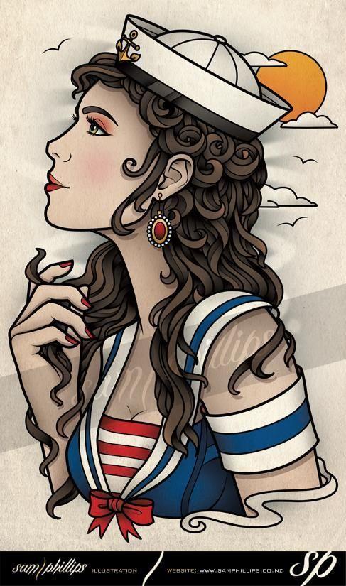 Sailor Girl With Curls Tattoo - Sam Phillips - Artist . Illustrator . Graphic Designer by Natalie | We Heart It
