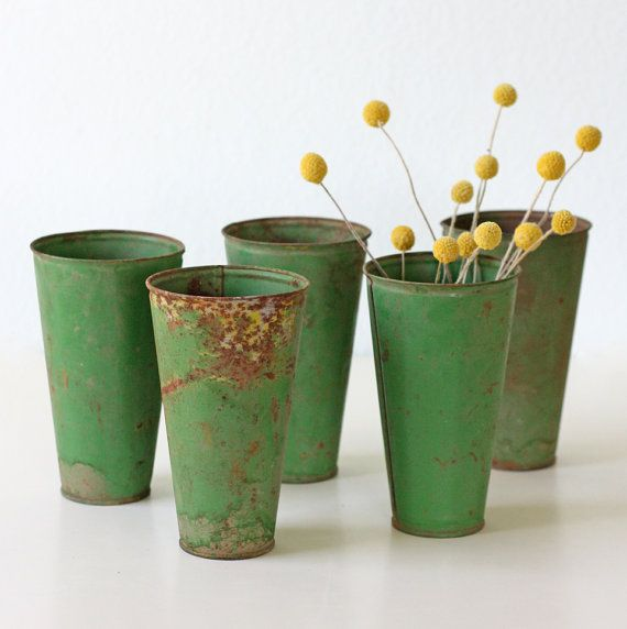 Vintage Green Vases  Metal Set of 5 by bellalulu on Etsy, $42.00