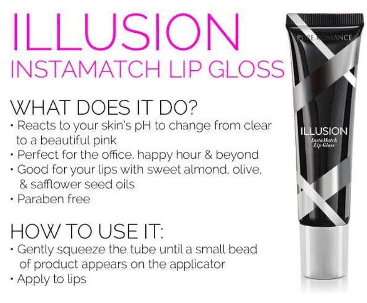 Get ready to meet your match. Illusion instaMatch lip gloss starts out clear, then reacts to your unique skin chemistry to transform to an oh so perfect pink you'll wear all day. Retails $16.