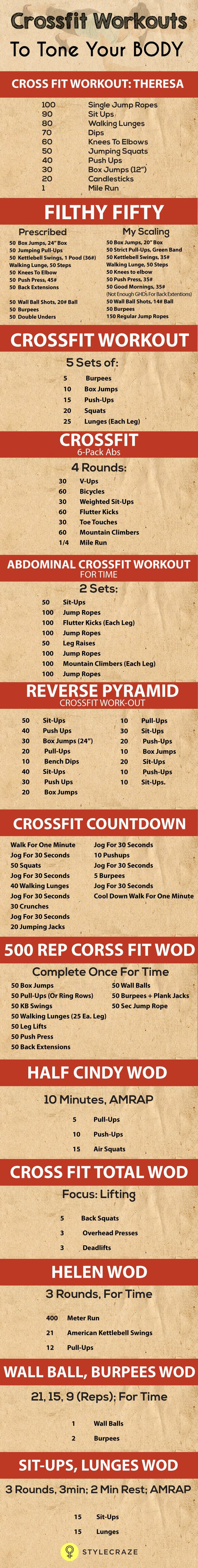 20 Effective Crossfit Workouts To Tone Your Body. pinterest.com/SuperDFitness
