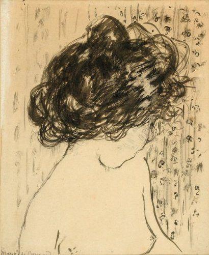 Pierre BONNARD (1867-1947) PORTRAIT DE MARIE Dessin à l'encre H. 19 cm L. 15,5 cm LSB