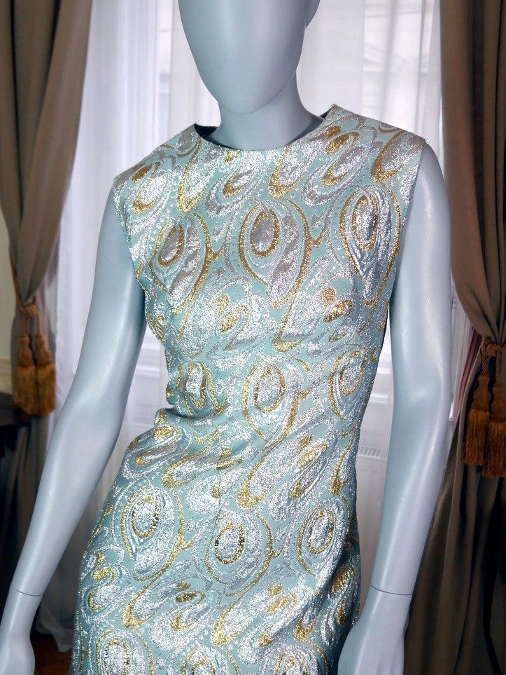 Viennese Vintage 1960s Evening Gown, Sleeveless Turquoise Silver Gold Long Evening Dress, Elegant Hostess Dress: Size 12 US, Size 16 UK by YouLookAmazing on Etsy