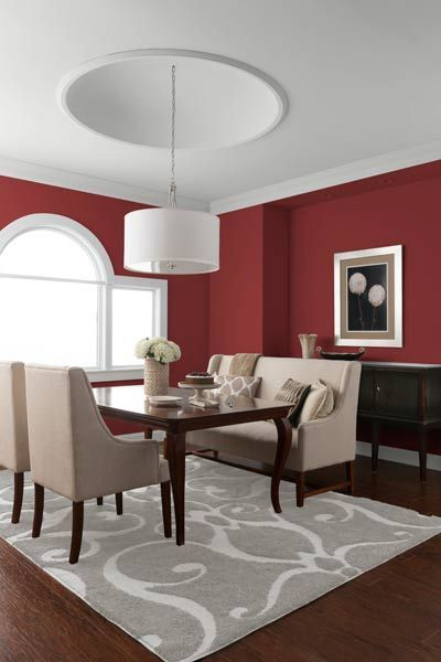 Saturated walls lend light decor accents some serious depth. | Rusty Red, /gliddenpaint/