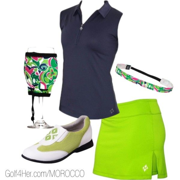 Navy and Neon Green ladies #golf outfit | #golf4her