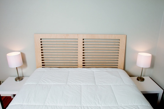 How to make a diy modern headboard from one sheet of for Modern headboard diy
