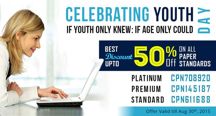 ☛ Celebrating Youth Day ☛ Best Discount Upto 50% On All Paper Standards #InternationalYouthDay