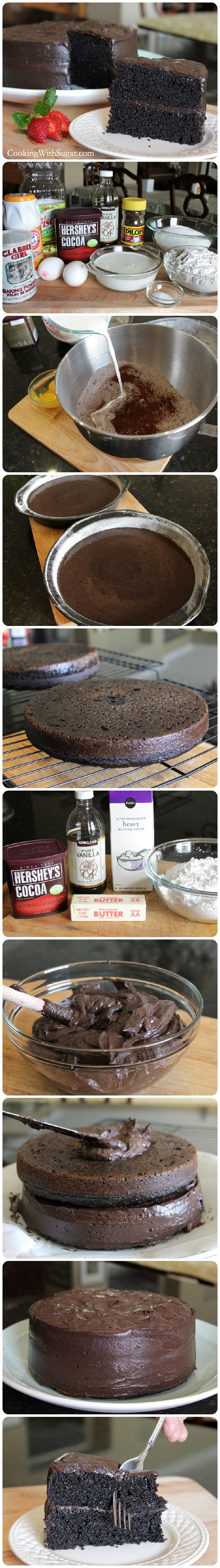 "Homemade Delicious ""Especially Dark"" Chocolate Cake – The Best Cake Recipe from Hershey's-Step by Step..."