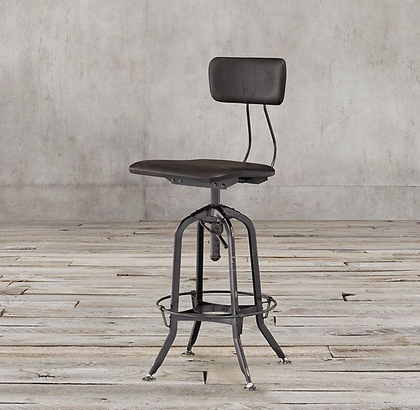 Vintage Toledo Brown Leather Bar Chair in distressed black finish - 178 Best Kitchen Islands Images On Pinterest