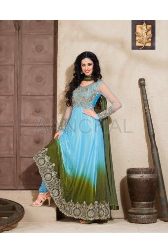 Sky Blue And Olive Green Shaded Georgette Anarkali Kameez With Matching Churidar And Dupatta