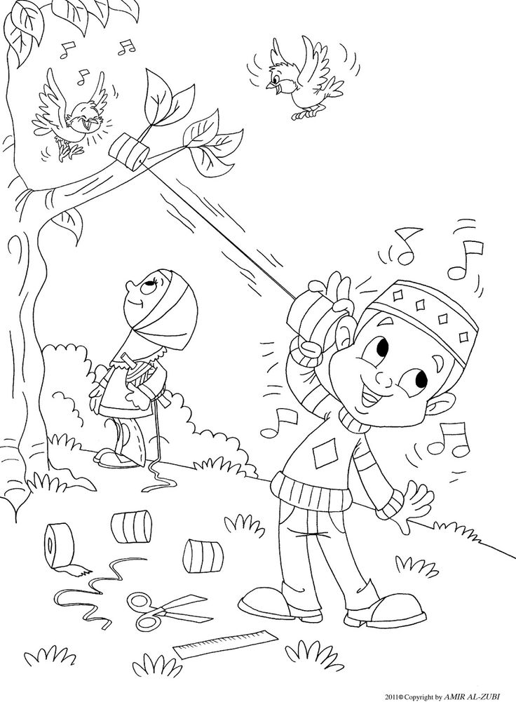 Outside coloring page Muslim boy