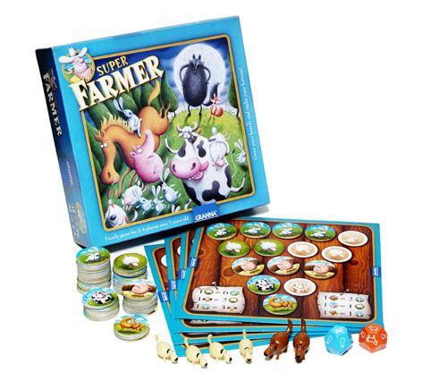 In #SuperFarmer i giocatori hanno l'arduo compito di far prosperare la fattoria. Divertente gioco per la famiglia.