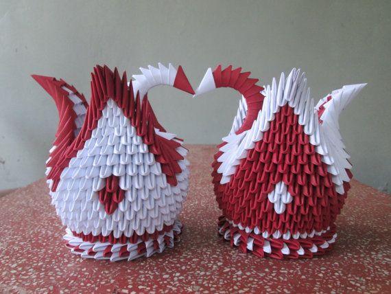 Un par de 3d Origami cisne rojo oscuro y blanco por CHOUCHOUGIFTS