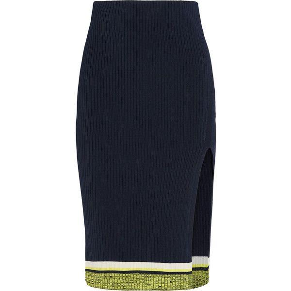 Rag & bone Sheridan ribbed-knit skirt (1.083.830 COP) via Polyvore featuring skirts, rag & bone, navy, navy skirt, stripe skirt, ribbed knit skirt, navy blue skirt and striped skirt