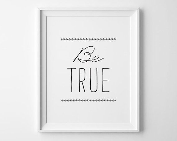 Be True Inspirational Print Minimalist Bedroom by SweetPeonyPress, $10.00