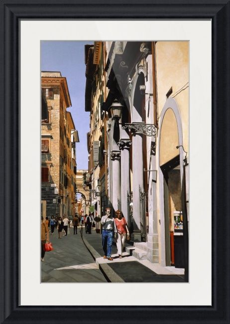 """""""Via del Corso"""" by Matthew Bates, Firenze, Italy // Take a stroll down Via del Corso, an original oil painting by Matthew Bates which is now available as a high quality art print.When you buy this or any other of my Imagekind(TM) prints, send them to me and I will personally sign the print and send it back to you with a certi... // Imagekind.com -- Buy stunning fine art prints, framed prints and canvas prints directly from independent working artists and photographers."""