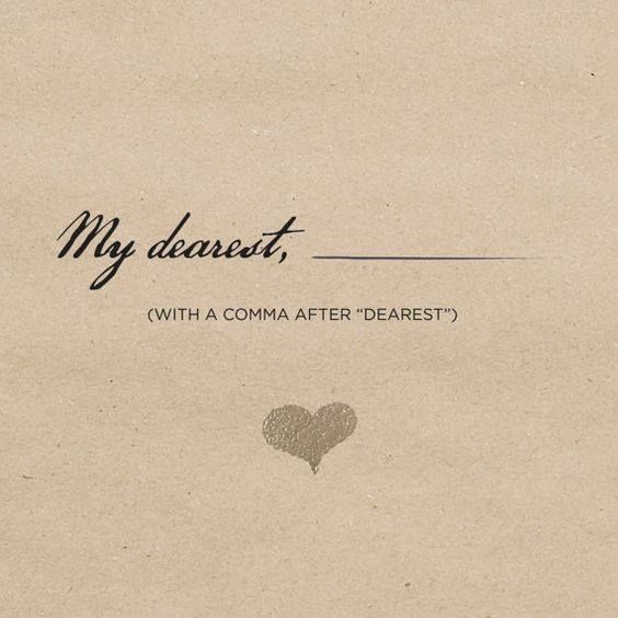 """Without the comma, """"dearest"""" is a modifier to Angelica, it's a term of endearment, but not uncommon as a familial term, particularly in that era. The comma separates """"Angelica"""", and makes """"my dearest"""" it's own form of address. A man calling a woman """"my dearest"""" implies a connection that's more romantic that sisterly. It makes it less a typical salutation and more an expression of their unrequited attraction. 