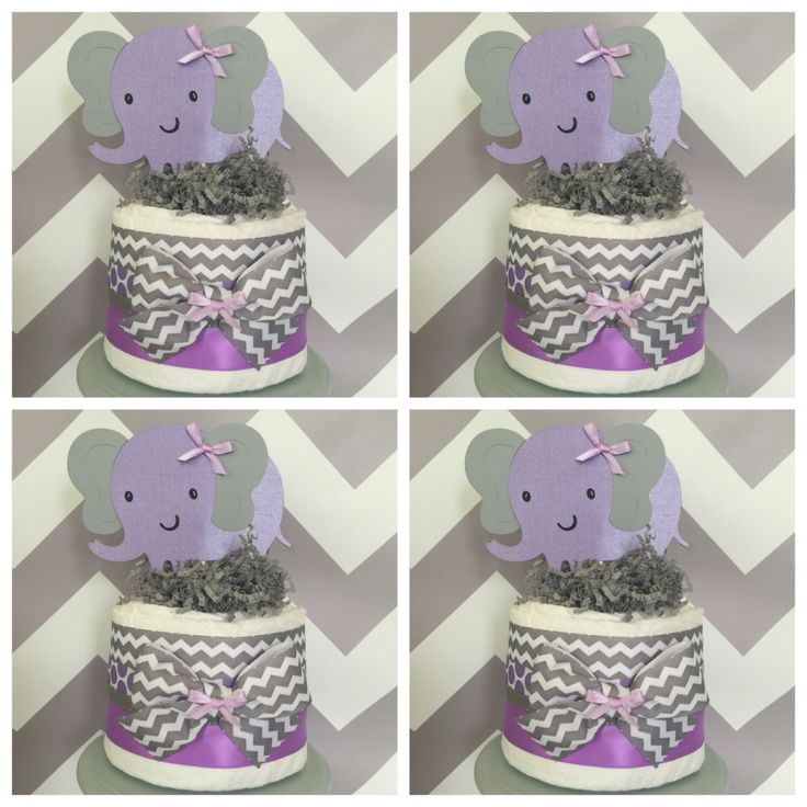 Elephant Chevron Mini Diaper Cakes In Lavender And Gray, Elephant Baby  Shower Centerpieces