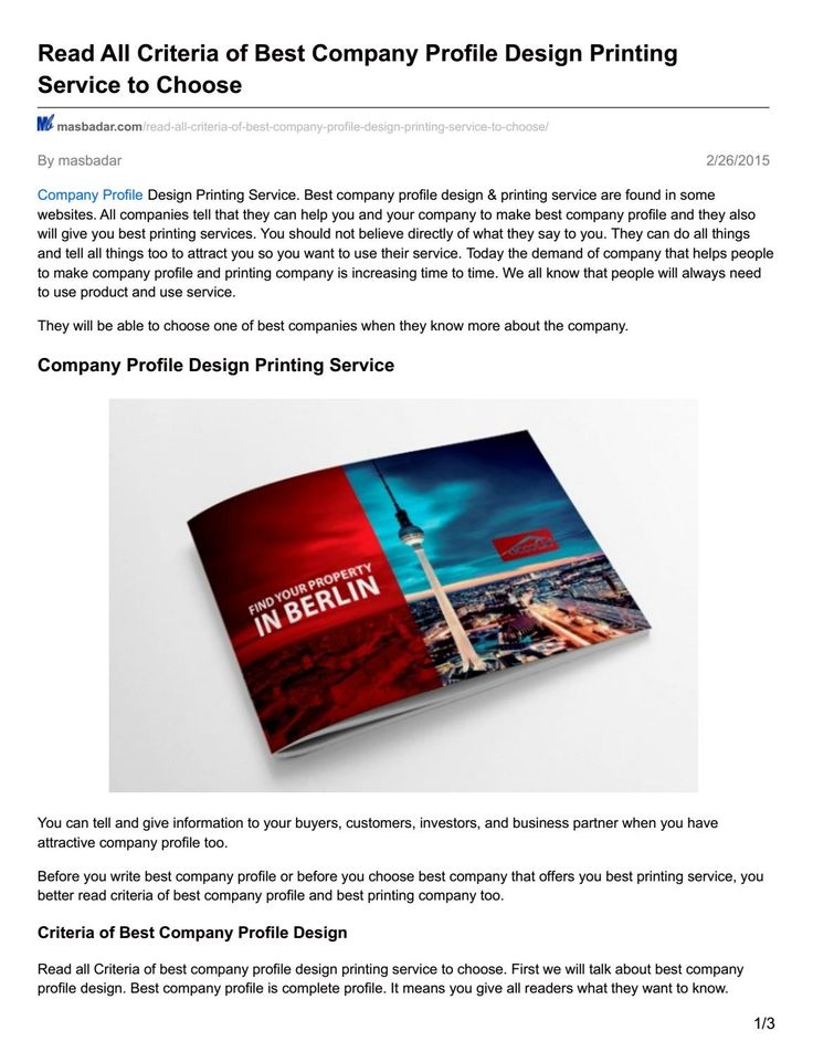 Masbadar com read all criteria of best company profile design printing service to choose