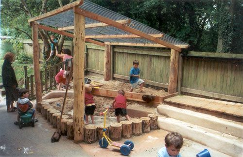 sandpit with log border