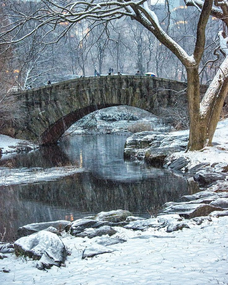 Gapstow Bridge in Central Park in the snow