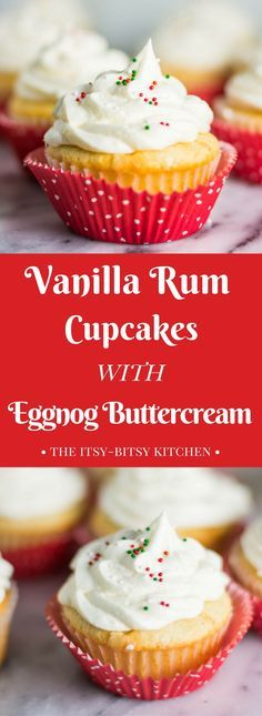 Vanilla rum cupcakes with eggnog buttercream are a lovely dessert for Christmas and the holiday season. Festive, delicious, and topped with sprinkles, they're just divine. Get the recipe at itsybitsykitchen.com